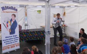 Entertaining with comedy magic at Vegfest Bristol.