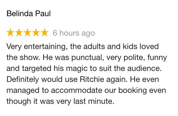 Review of Children's Entertainer in Sutton Ritchie