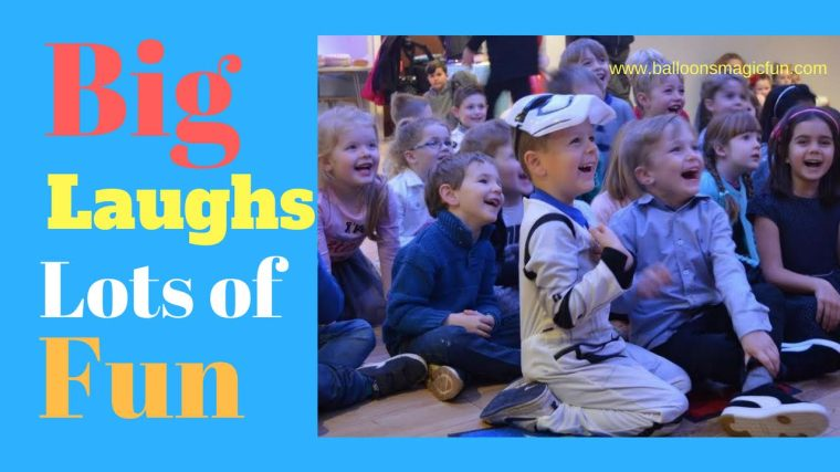 Kids laughing at Ritchie's magic show 2018