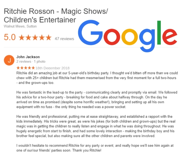 Review of Ritchie Rosson's magic show 2018