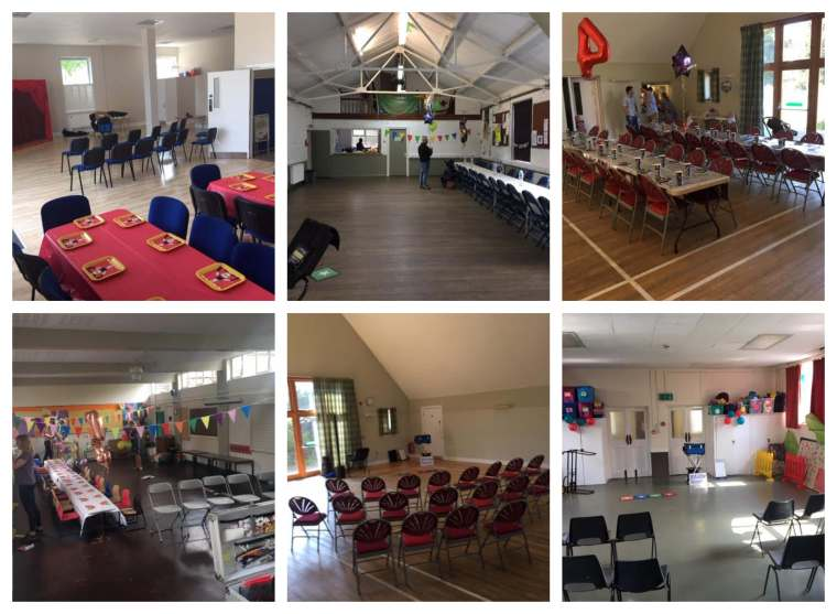 Birthday party tables and chairs arrangement for magic show.